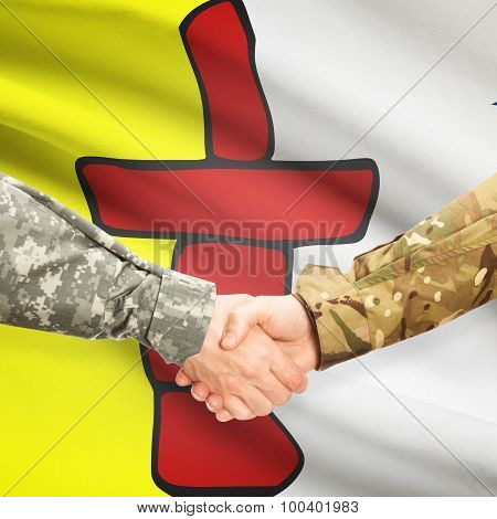 Military Handshake And Canadian Province Flag - Nunavut