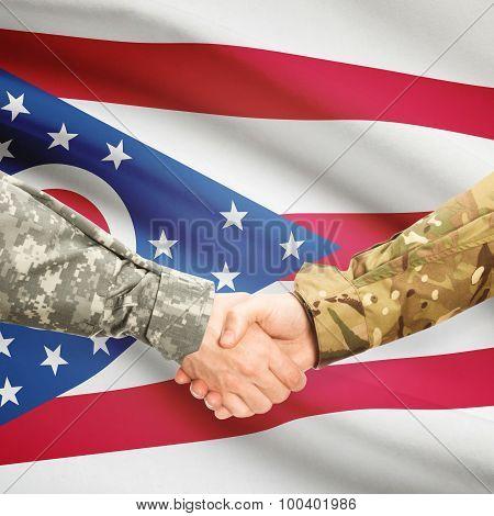 Military Handshake And Us State Flag - Ohio