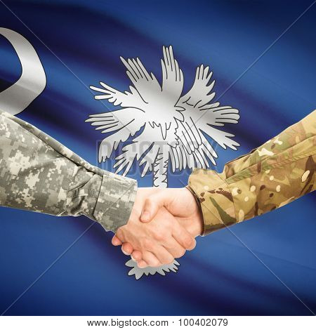 Military Handshake And Us State Flag - South Carolina