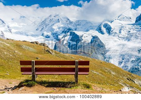 Bench with the view on Gornergrat glacier, Switzerland