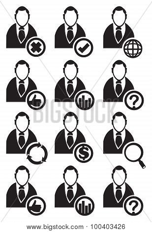 Businessman With Conceptual Symbols In Circle Vector Icon Set