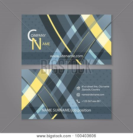 Professional business card template design with abstract pattern