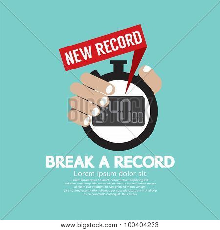 Break A Record Showing New Time Record On Stopwatch.