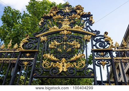 Detail of ornate gate leading to Monceau Park in Paris, France