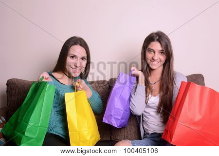 Latin Young Woman Holding Shopping Bags