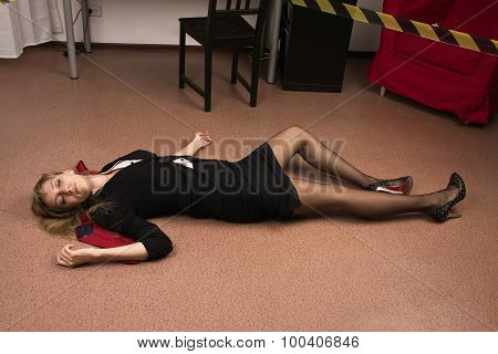 Lifeless Business Woman Lying On The Floor (imitation)