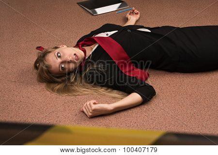 Lifeless Business Woman Lying On The Floor (imitation)