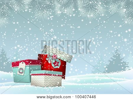 Christmas background with stack of colorful giftboxes, illustration