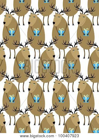 Christmas Reindeer With Gifts Seamless Pattern. Horny Animals, Santas Helpers. Christmas Animals Vec