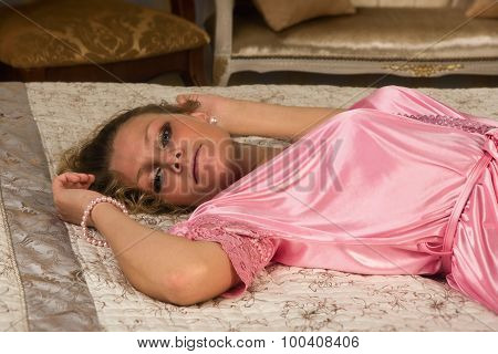 Sexual Blonde Lying On A Bed