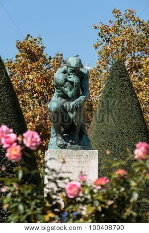 PARIS, FRANCE - SEPTEMBER 12, 2014: The Thinker in Rodin Museum in Paris