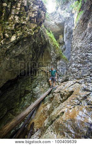 Man Hiker Walking In A Canyon