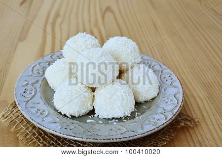 White Chocolate Candy Coconut Truffles