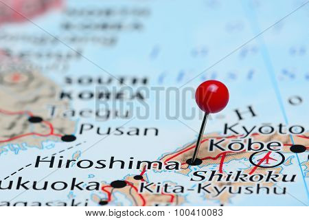 Hiroshima pinned on a map of Asia