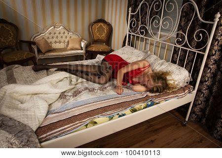 Sexual Blonde In Red Sleeping
