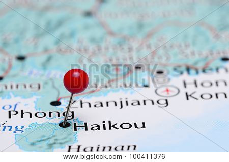 Haikou pinned on a map of Asia