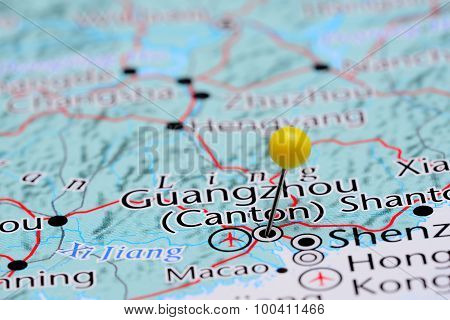 Guangzhou pinned on a map of Asia