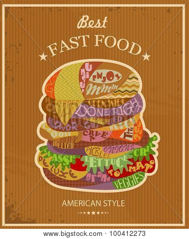 Vector poster with Tasty hamburger
