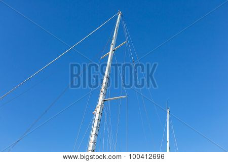 Mast Of Big White Ship Moored In Port