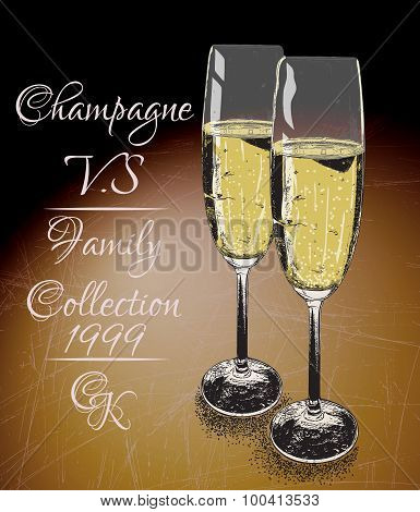 Two glasses  of champagne on shabby background