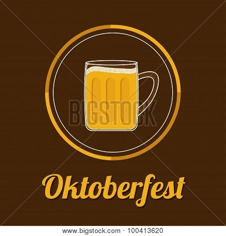 Oktoberfest Beer Glass Mug With Foam Cap Froth Bubble. Round Icon Flat Design