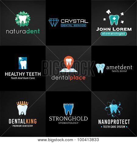Set of tooth logos.  Oral care symbols collection. Vector teeth designs. Bright dental clinic templa