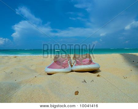 Beach Shoes In The Caribean Sand