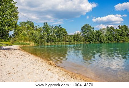 Beach At Lake Bassin Des Mouettes, France