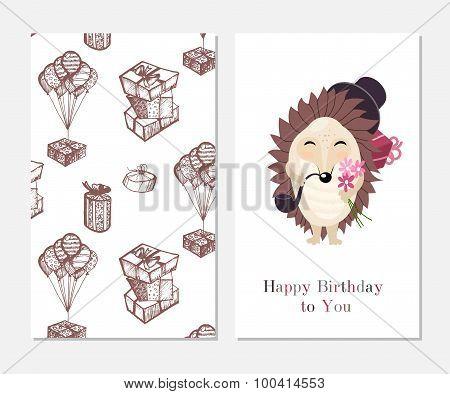 Happy birthday. Stylish inspiration card in cute style with cartoon  gentleman hedgehog. Template fo