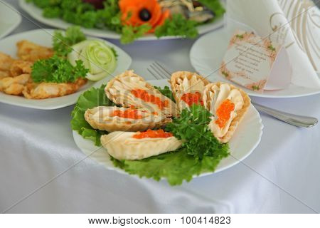 Sandwiches Delicacies With Red Caviar