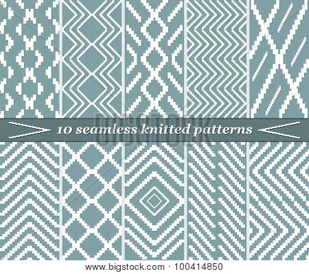 10 Seamless Knitted Patterns In Blue-grey Color
