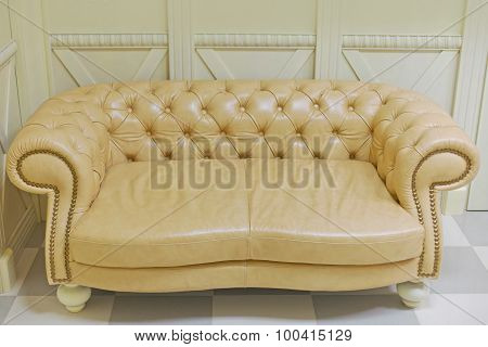 Yellow Vintage Sofa In Interior