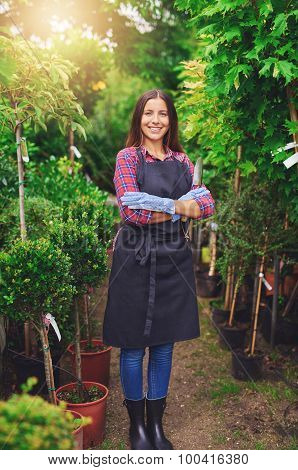 Proud Young Nursery Owner Standing In A Greenhouse