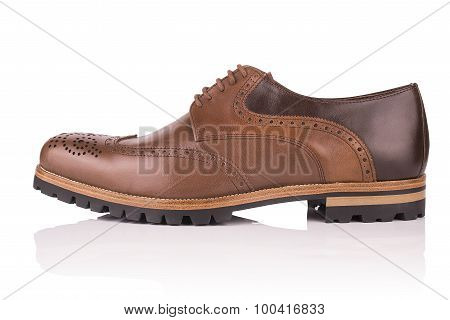 men's leather shoes on a white background isolated
