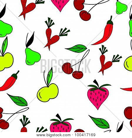 Fruits and vegetables on white background seamless pattern