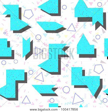 Abstract Bright Colored Geometric Pattern In Style Of The 80