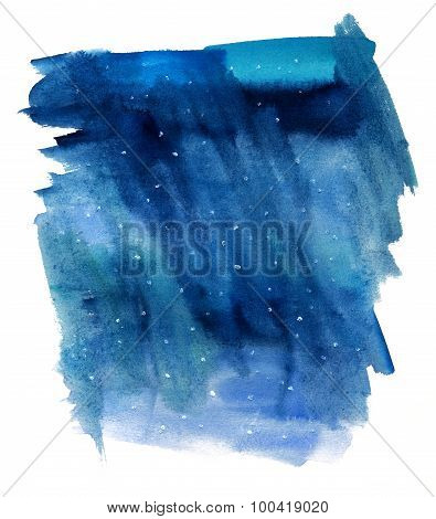 Abstract watercolor dark blue background texture with white dots