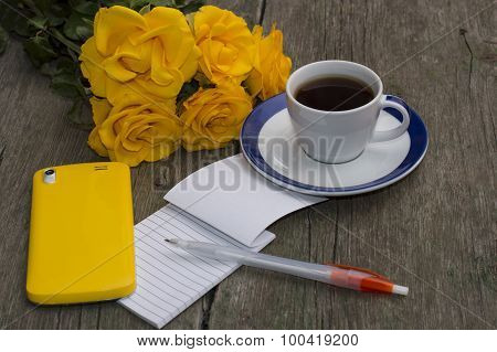 Yellow Roses, Notebook, Coffee And Yellow Phone