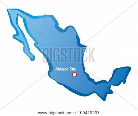 Blue Map Of Mexico And Mexico City