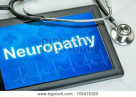 Tablet With The Diagnosis Neuropathy On The Display