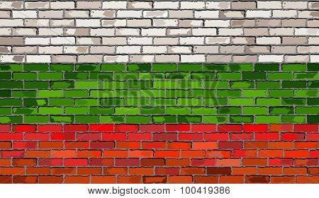 Grunge Flag Of Bulgaria On A Brick Wall