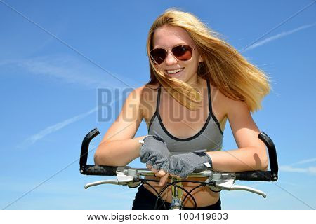Portrait of a girl on bike