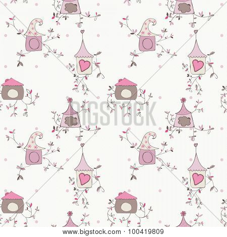 Bird House seamless background - for your design or scrapbooking