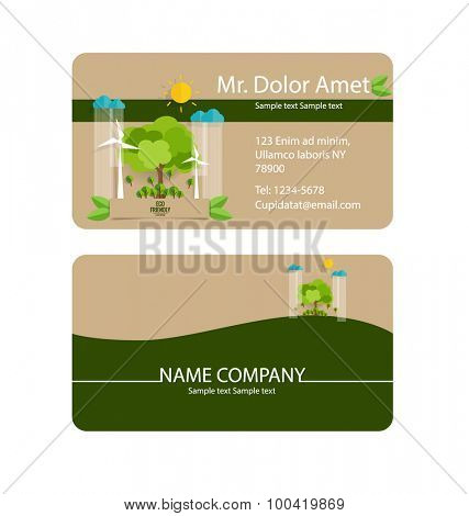 Modern business card template with nature background. Vector illustration.