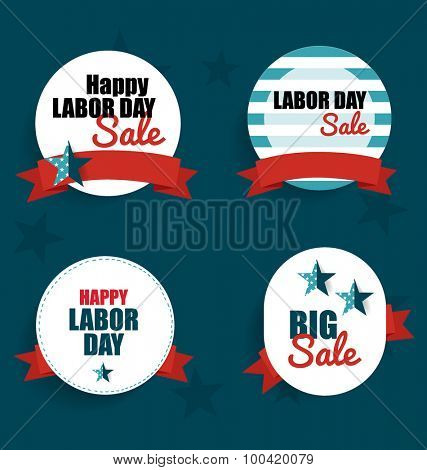 Happy Labor day Sale Coupon, voucher, tag. Vector Illustration.