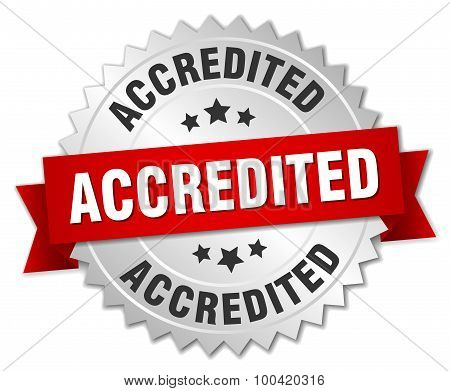Accredited 3D Silver Badge With Red Ribbon