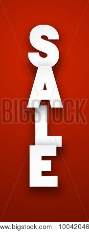 White sale sign over red background. Vector illustration.