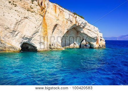 Blue caves at the cliff of Zakynthos island, Greece