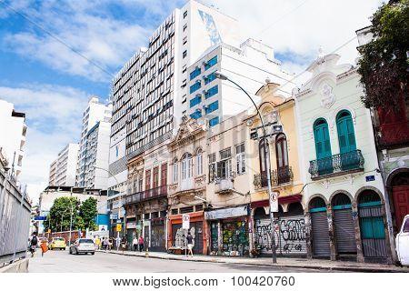 RIO DE JANEIRO - APRIL 23, 2015: Lapa street on April 23, 2015. in Rio de Janeiro, Brazil. Rio de Janeiro still has many social problems.