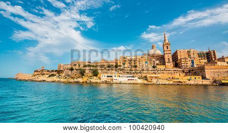 view on Valletta with its architecture from the sea